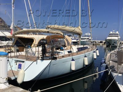 Dufour 485 Grand Large light blue hull