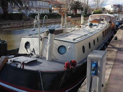 Dutch Motor Barge large aft deck with bimini