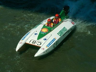 Lorne Campbell & Gordon Wright 23 Cat Class 3 Offshore powerboat.