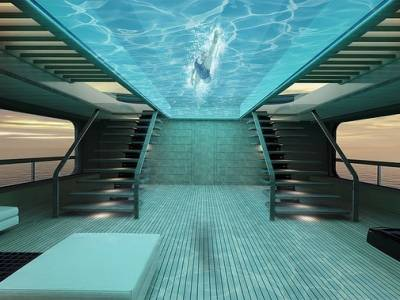 Superyacht unveils glass-bottomed 'fly over' pool