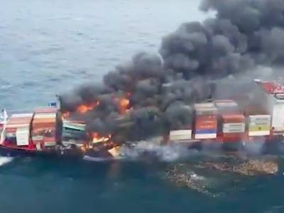 Watch: shocking footage of fire onboard containership