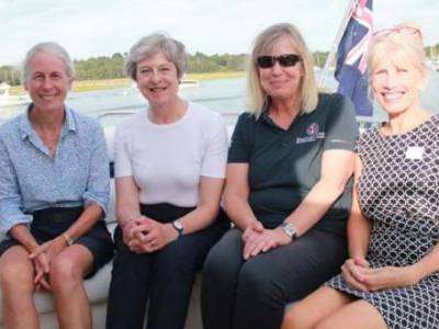 THERESA MAY SAILS ON THE BEAULIEU RIVER TO VISIT BUCKLER'S HARD