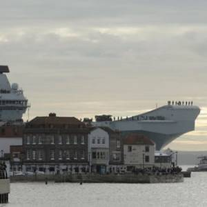 HMS QUEEN ELIZABETH RETURNS FROM FIGHTER JET TRIALS