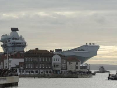 HMS QUEEN ELIZABETH RETURNS FROM FIGHTER JET TRIALS