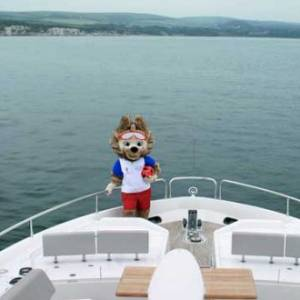 Spotted…FIFA mascot on board a Sunseeker