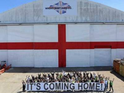 St George's flag the size of a football pitch hung at Isle of Wight shipyard