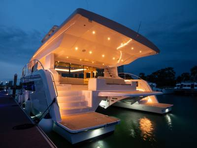 Solar electric catamaran, with kite wing, launched