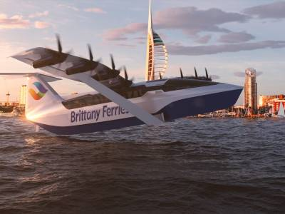 Brittany Ferries unveils plans for all-electric 180mph 'flying ferry'
