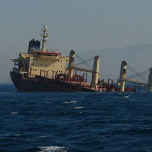 Stricken Cargo Ship off Gibraltar