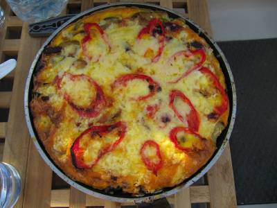 From the Galley - Galley head frittata with blue cheese