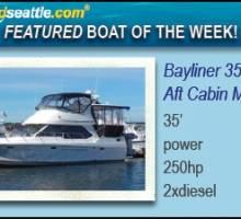 Waterline Boats / Boatshed Seattle Featured Boat of the Week  Bayliner 3587, Aft Cabin Motoryacht!